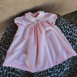 VTG 1960s Pink Gingham Girls Dress 2T